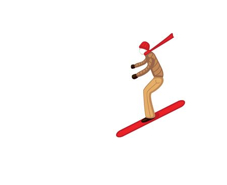 Skier skiing downhill during in high Ilustrace