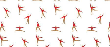 pattern with men ballet dancers dressed in yellow tights and pointe making dance element Ilustrace