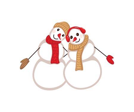 cute snowmen.Illustration of two cute snowmen in love holding hands.couple of happy snowmen. Stock Illustratie