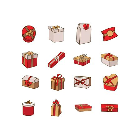 Set of various gift boxes in flat style design vector illustration isolated on white background for holidays design Ilustrace