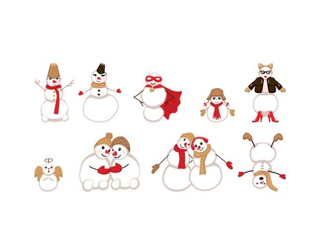 Cute Snowman Collection isolated on white background. Vector illustration