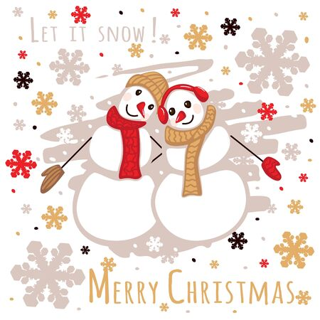 Greeting card with cute snowmen.Illustration of two cute snowmen in love holding hands Ilustrace