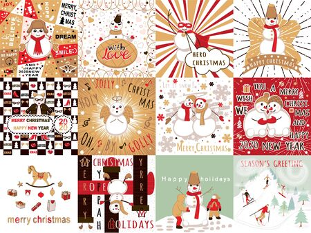 set with greeting card for christmas. Collection card with cute snowmen Ilustrace