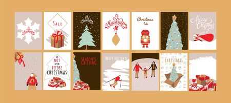 Merry Christmas greeting card set with cute xmas tree, snowflake, kid, nutcracker Ilustrace