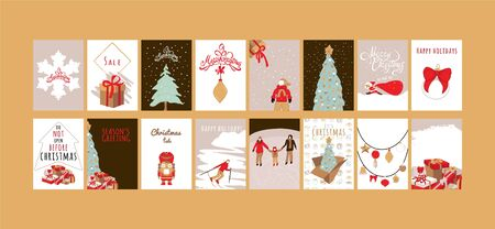 Merry Christmas greeting card set with cute xmas tree, snowflake, kid, nutcracker, santa claus and gift box designs.