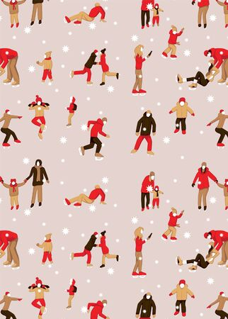 greeting card with pattern with Various people characters skating on ice rink.