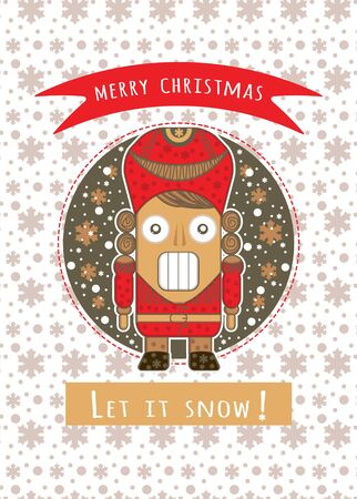 Christmas card with Nutcracker puppet and snowflakes flat vector illustration. Greetings card Merry christmas and let it snow