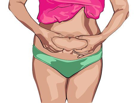 La fille afro-américaine serre le pli du ventre avec les deux mains. Vecteurs