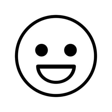 smiley icon. smiled. vector in white color outlined