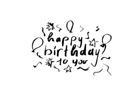 Happy Birthday to You Calligraphy with ballons, stars and confetti Greeting Card.
