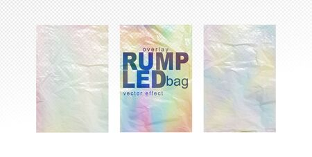 Colorful gradient mock up. iridescent paper. Holographic Foil. bad glued paper realistic vector illustration. Set of wet wrinkled and creased paper sheets with crumpled texture,
