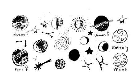 Set of space objects planets, stars, circles, triangles Hand drawn vector Vektoros illusztráció