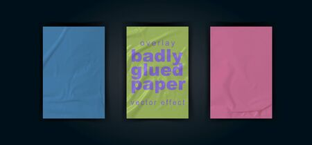Set of three mock up in different colors: green, pink, blue. Bad glued paper realistic vector illustration. Set of wet wrinkled and creased paper sheets with crumpled texture,