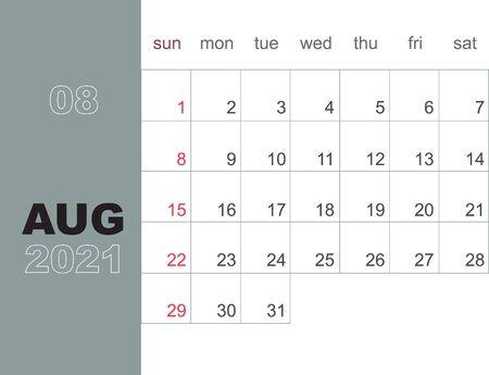 August 2021. Calendar planner design template. Week starts on Sunday. Stationery design. Vector Illustration Illustration