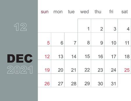 December 2021. Calendar planner design template. Week starts on Sunday. Stationery design. Vector Illustration Vector Illustration
