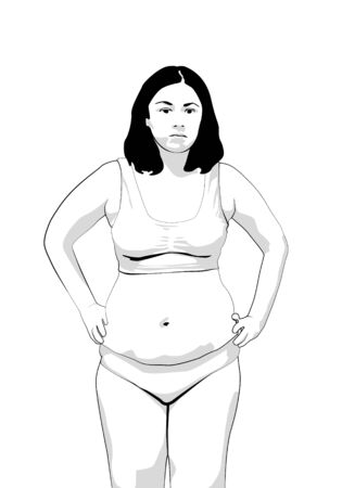 overweight woman with fat belly. obese woman lingerie. black line on white background