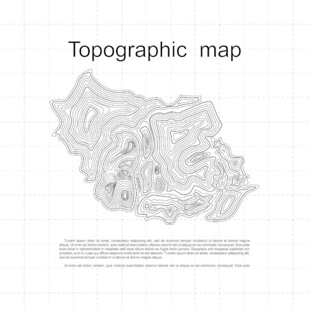 Abstract Topographic Contour Map Template. Geographic grid, vector illustration.