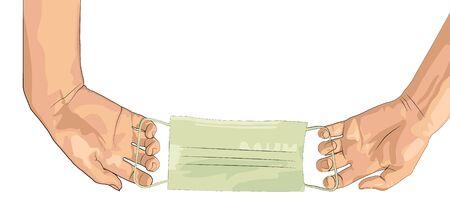 Hands holding medical face mask. Vector illustration. Female hands without gloves