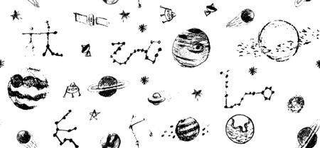 Outer Space Doodle pattern. Hand drawn vector illustration set of space icon Ilustração