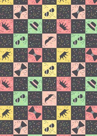 Pattern with multicolored squares and black figures of glasses, crowns, hats, whiskers, ties. Yellow pink black and green squares staggered