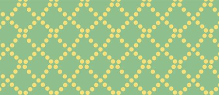 pattern with yellow circles on a green background. Grid of yellow circles Illustration
