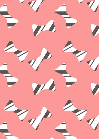 pattern with butterfly ties. White bow tie with black stripes on a pink background Illustration