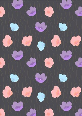 Pattern with chaotic squiggles and multicolor flowers, hipster style background.