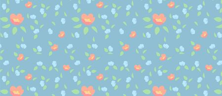 pattern with flowers and leaves. Pink and blue flowers and green leaves Vectores