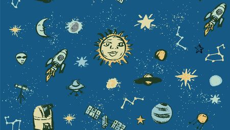 Space doodle illustration in a pattern with cartoon planets, stars, comet, air ballon, telescope.