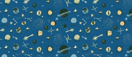 Hand drawn vector pattern with set of circular planets and stars,