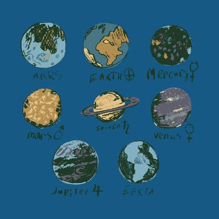 Set of space objects planets, stars, comet Hand drawn vector 矢量图像