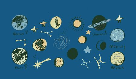 Set of space objects planets, stars, circles, triangles Hand drawn vector 矢量图像