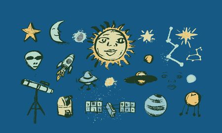 Set of space objects planets, stars, comet, air ballon, telescope Hand drawn vector