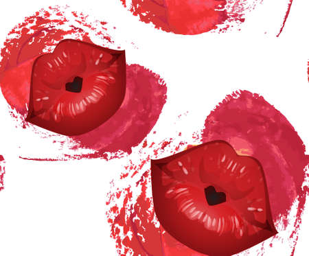 Lipstick kiss print. Lip imprint. Fashion seamless pattern. 免版税图像