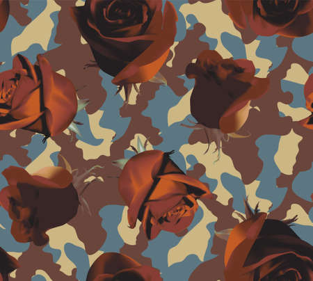 Fashionable camouflage brown and blue pattern with brown roses