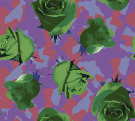 Fashionable camouflage violet and pink pattern with green roses 矢量图像