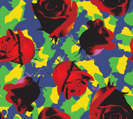 Fashionable camouflage blue,green, yellow pattern with red roses