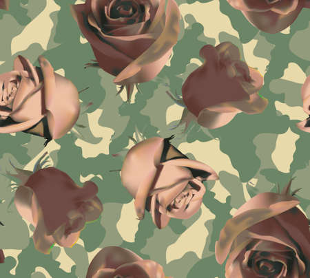 Fashionable camouflage pattern with light pink roses 免版税图像
