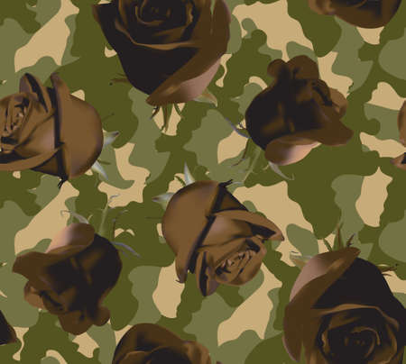 Fashionable camouflage pattern with roses 免版税图像 - 152480905