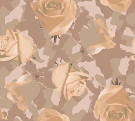 Fashionable camouflage beige pattern with beige roses 矢量图像