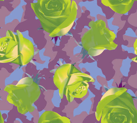 Fashionable camouflage pink, violet pattern with lime roses 矢量图像