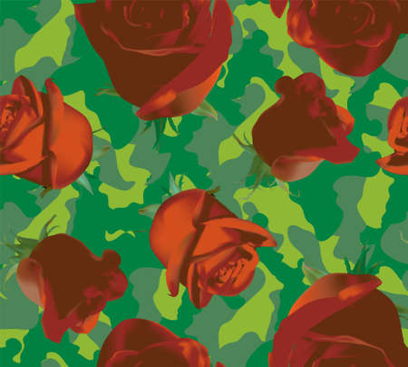 Fashionable camouflage pattern with red roses with green