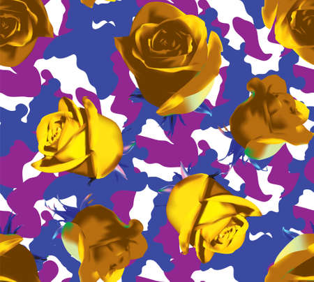 Fashionable camouflage violet and pink pattern with yellow roses