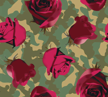 Fashionable camouflage pattern with pink roses