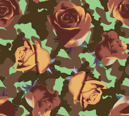 Fashionable camouflage brown and green pattern with beige roses