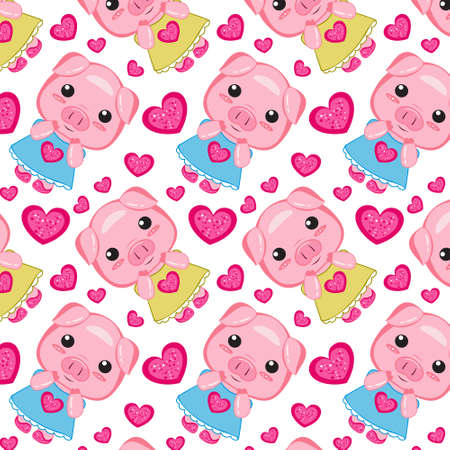 pattern Nice pink pig in a heart dress on white background 矢量图像