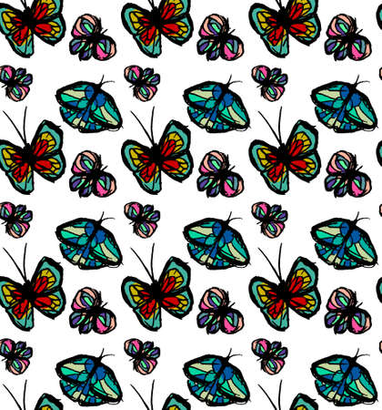bright pattern with butterflies. Paints paint, hand drawn butterflies.