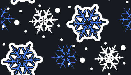 snowflakes pattern. Seamless winter pattern on paper texture. 矢量图像