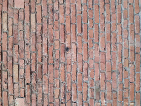 Panoramic background of wide old red brick wall texture. Home or office design backdrop