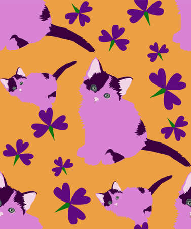 cat and flowers pattern 矢量图像